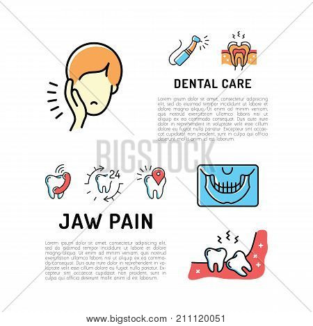 Toothache, jaw pain and wisdom teeth thin line art icons, Dental care card. Dentistry card, Stomatology flyer. Vector flat illustration