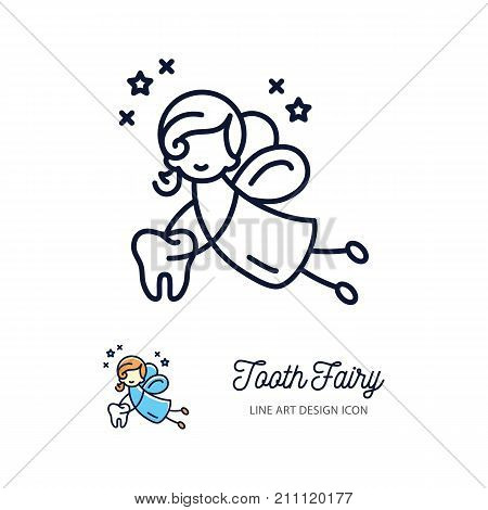 Tooth Fairy thin line art icons, Children's dentistry logo. Vector outline symbols, flat illustration