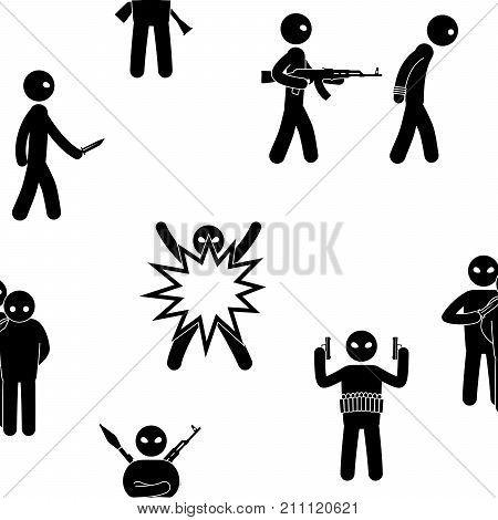 Terrorism concept. Set of terrorist people. Terror world threat. Seamless background. Vector illustration