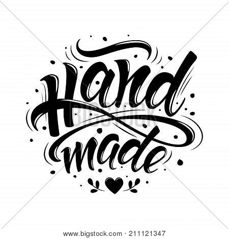Handmade. Hand-drawn lettering. Stylish black and white logo for your product shop etc.