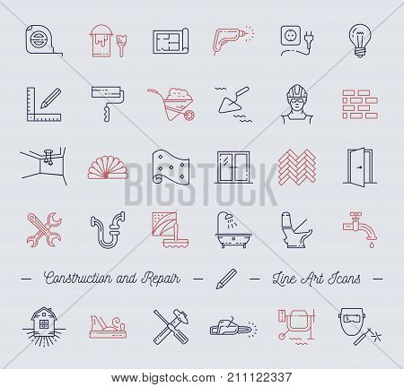 Icons repair, building, construction symbols. Home improvement, plumbing, repair tools. Modern thin line art icons, Vector flat illustration