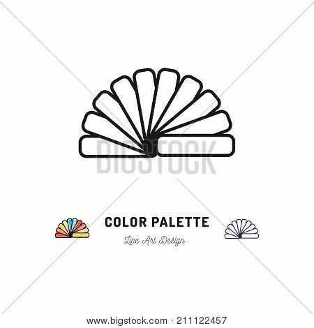 Color palette icon, Pantone colors. Interior design and home repair outline symbols, Vector flat illustration