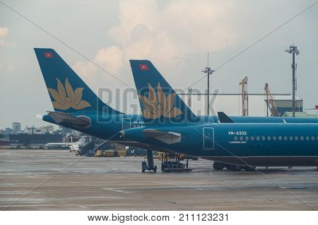 Ho Chi Minh City Vietnam - August 20 2017: Vietnam Airlines A321 on the tarmac at Tan Son Nhat international airport. Vietnam Airlines is the Vietnamese flag carrier.