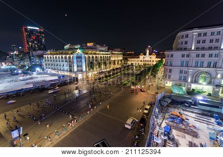 Ho Chi Minh City Vietnam - August 19 2015: aerial view of Nguyen Hue Street a pedestrian mall in central Ho Chi Minh City. The Rex Hotel is opposite.
