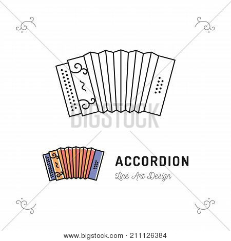 Accordion icon thin line art symbols, Accordions musical instruments, Vector outline illustration