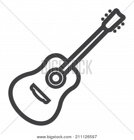 Acoustic guitar line icon, music and instrument, sound sign vector graphics, a linear pattern on a white background, eps 10.