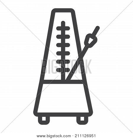 Metronome line icon, music and instrument, tempo sign vector graphics, a linear pattern on a white background, eps 10.