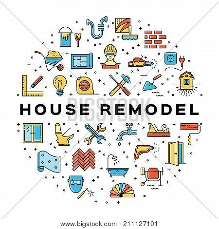 House remodel circle infographics Construction icon. Home repair thin line art icons. Symbols hammer and screwdriver, plumbing, construction tools, wallpaper and etc. Vector flat illustration