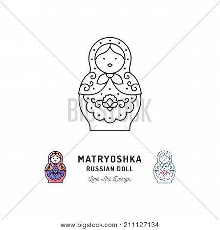 Matryoshka icon Russian nesting doll thin line art icons. Vector outline illustration