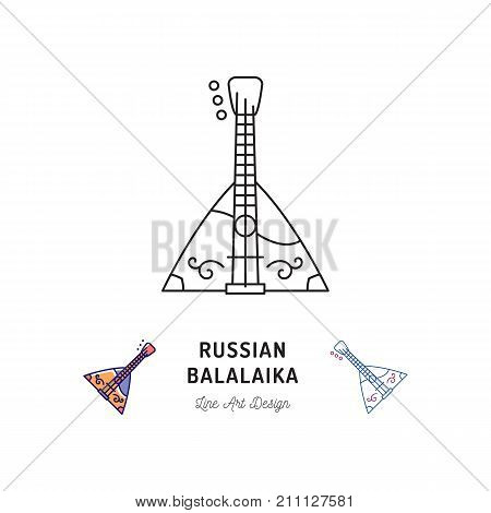Balalaika icon Russian stringed musical instrument. Thin line art design, Vector outline illustration