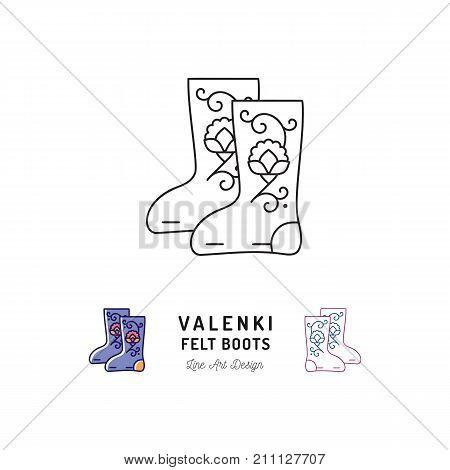 Valenki icon Felt boots sign, Traditional Russian winter footwear. Thin line art design, Vector outline illustration