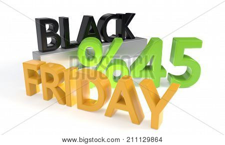 Black Friday discount of fortyfive percent, 3d render