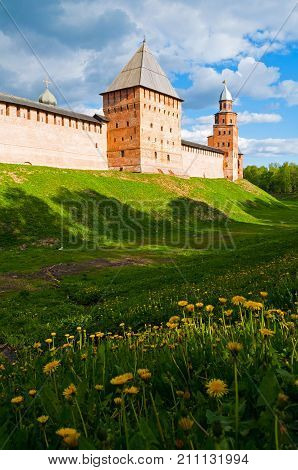 Veliky Novgorod Russia. Intercession and Kokui towers of Veliky Novgorod Kremlin Russia in spring day