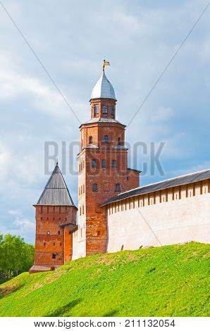 Veliky Novgorod Russia. Intercession and Kokui towers of Veliky Novgorod Kremlin Russia, closeup view in spring day. Architecture landscape of Veliky Novgorod Russia landmark