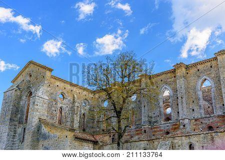 The Exterior Of The Famous Abbey Of San Galgano In Chiusdino, Tuscany, Italy