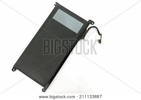 Rechargeable Li-ion battery with power plugs connector of laptop isolated on white background Top view with copy space and Text.