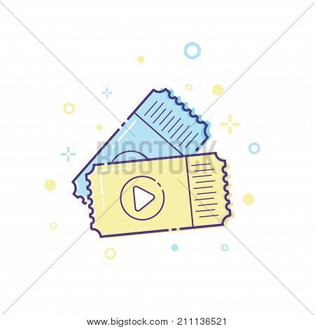 Ticket icon vector illustration. Ticket stub. Retro cinema or movie tickets.