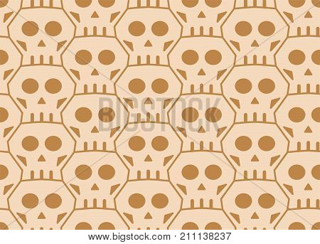 Seamless Tessellation Pattern of Skulls Vector Background