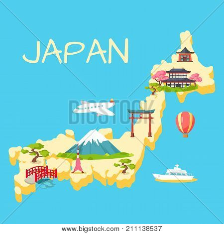 Travel in Japan touristic concept. Japaneses national, architectural and nature symbols on country map silhouette flat vector illustrations. Famous attractions for foreign tourists in Japan