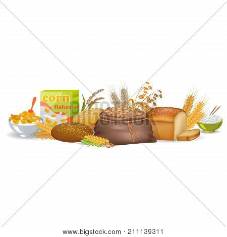Cooked cereals in bowls, package of corn flakes, freshly baked bread and organic spikes isolated vector illustration on white background.