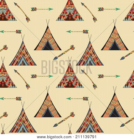Vector seamless pattern. Wigwam native american tent illustration.