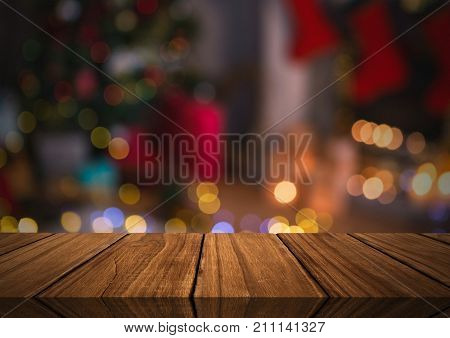 Digital composite of Wooden floor with Christmas theme background