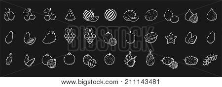 Outline white linear web icon set - Fruit & berries Thin bold Line food Icons For logo label cherry mango fig watermelon papaya pomergranate litchi avocado jerusalem artichoke date big collection