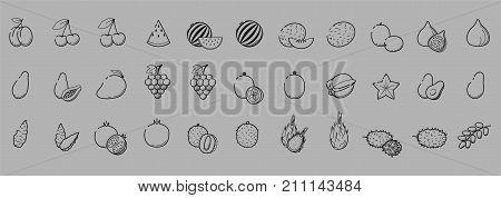 Outline black linear web icon set - Fruit & berries Thin bold Line food Icons For logo label cherry mango fig watermelon papaya pomergranate litchi avocado jerusalem artichoke date big collection