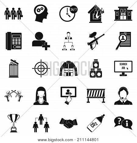 Crew icons set. Simple set of 25 crew vector icons for web isolated on white background