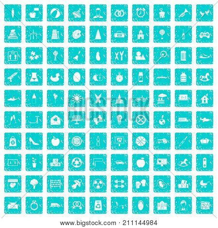 100 maternity leave icons set in grunge style blue color isolated on white background vector illustration