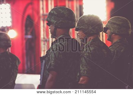 Mexican Soldiers At Independence Celebration