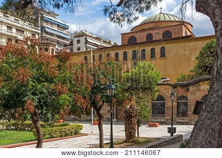 THESSALONIKI, GREECE - SEPTEMBER 30, 2017: Ancient Byzantine Orthodox Hagia Sophia Cathedral in the center of city of Thessaloniki, Central Macedonia, Greece