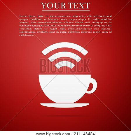 Cup of coffee shop with free wifi zone sign. Internet connection placard icon isolated on red background. Flat design. Vector Illustration