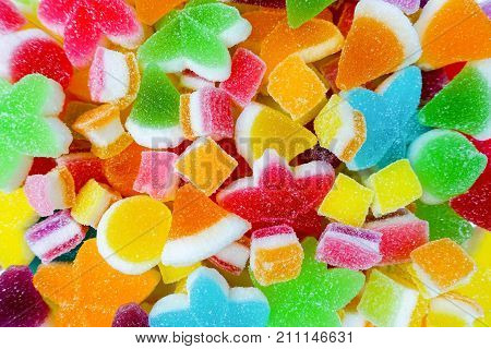 colorful candy and jelly sweet gummy with sugar. Square shape jelly. Star shape jelly. Hat shape jelly.