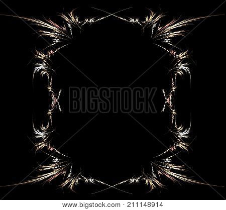 Frame empty intricate feather shape abstract vertical over black background