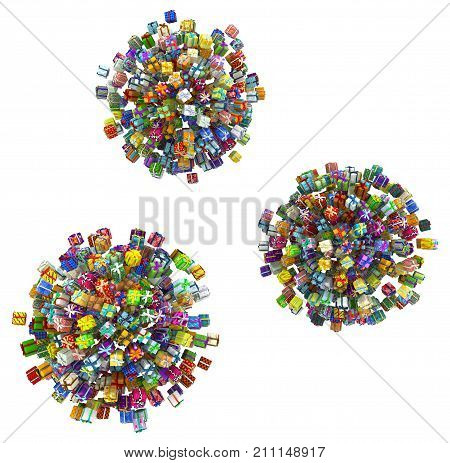 Gift large group 3d illustration spheres horizontal isolated over white