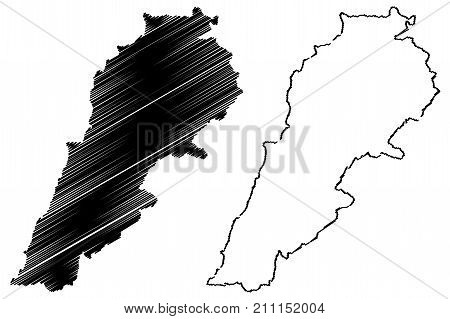 Lebanon map vector illustration , scribble sketch Lebanon