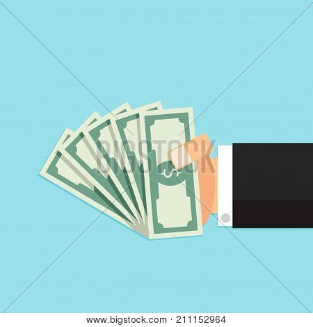 Bundle of money in hand. Business cash money finance dollar pay and buy vector illustration
