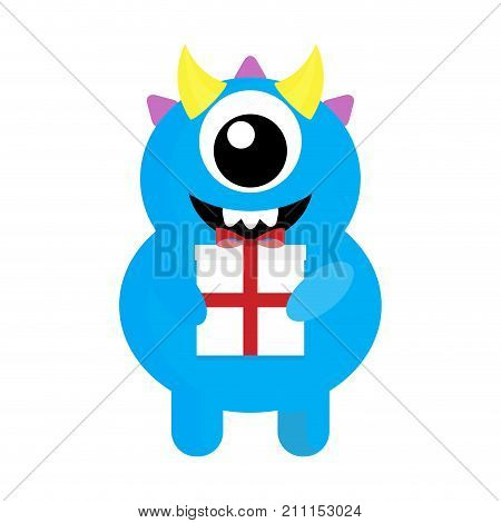 Cute monster cyclops with gift. Birthday gift xmas gift mutant with holiday gift. Vector illustration
