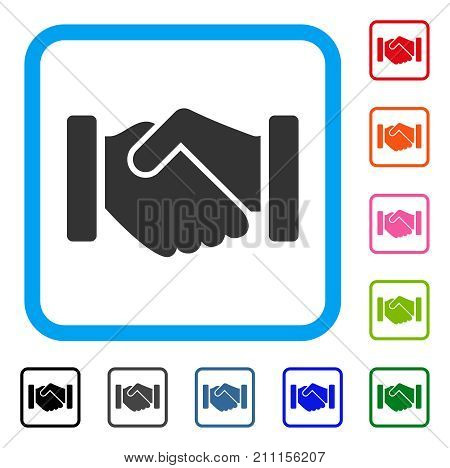 Agreement Handshake icon. Flat grey pictogram symbol in a blue rounded squared frame. Black, gray, green, blue, red, orange color variants of Agreement Handshake vector.