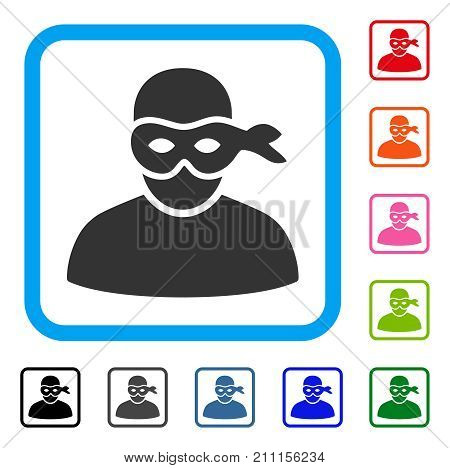 Anonimious Thief icon. Flat grey pictogram symbol in a blue rounded rectangular frame. Black, gray, green, blue, red, orange color versions of Anonimious Thief vector.