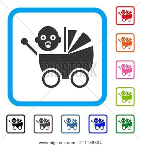 Baby Carriage icon. Flat grey iconic symbol inside a blue rounded rectangle. Black, gray, green, blue, red, orange color additional versions of Baby Carriage vector.