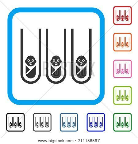 Baby Cloning Test-Tubes icon. Flat grey pictogram symbol inside a blue rounded square. Black, gray, green, blue, red, orange color variants of Baby Cloning Test-Tubes vector.
