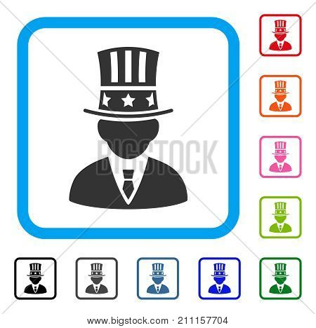 Capitalist icon. Flat grey iconic symbol inside a blue rounded rectangle. Black, gray, green, blue, red, orange color variants of Capitalist vector. Designed for web and application user interface.