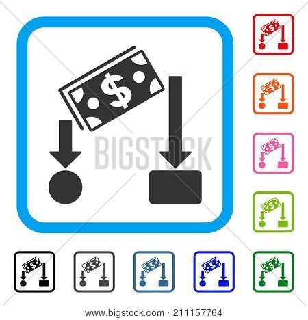 Cash Flow icon. Flat grey iconic symbol inside a blue rounded squared frame. Black, gray, green, blue, red, orange color variants of Cash Flow vector. Designed for web and application UI.