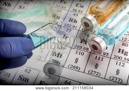Chemical Formulation vial And Medicines. Science Concept
