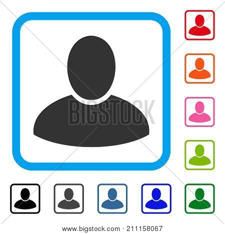 Client icon. Flat grey iconic symbol inside a blue rounded rectangular frame. Black, gray, green, blue, red, orange color additional versions of Client vector.