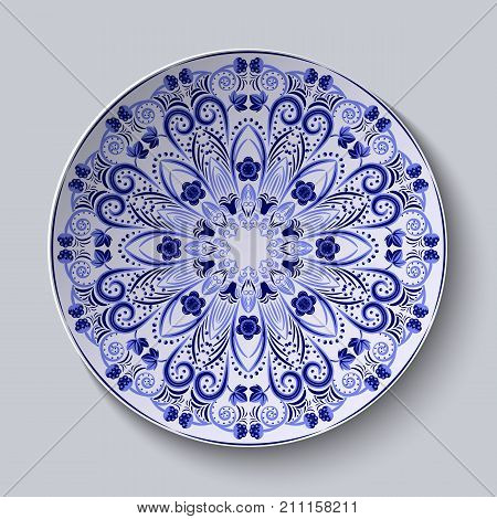 Blue floral pattern on a round dish. Pastiche of Chinese porcelain painting. Vector illustration.