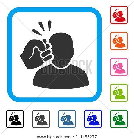 Crime Violation Fist Strike icon. Flat grey pictogram symbol in a blue rounded square. Black, gray, green, blue, red, orange color additional versions of Crime Violation Fist Strike vector.