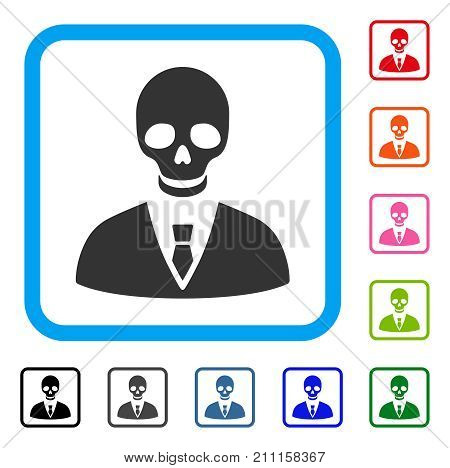 Deadly Manager icon. Flat grey pictogram symbol in a blue rounded rectangle. Black, gray, green, blue, red, orange color versions of Deadly Manager vector.